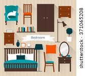 Stock vector set of vector elements for bedroom flat style illustration 371065208
