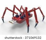 red robot usb flash spider | Shutterstock . vector #371069132