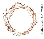wreath of twigs painted with... | Shutterstock . vector #371096006