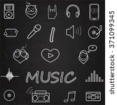 music icon set.  chalk on... | Shutterstock .eps vector #371099345