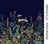 vector seamless floral border.... | Shutterstock .eps vector #371103686