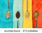 spoon of sunflower sesame...   Shutterstock . vector #371106866