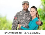 american soldier with his girl.