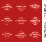 set of happy valentines day... | Shutterstock .eps vector #371140562