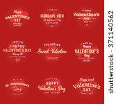 set of happy valentines day... | Shutterstock .eps vector #371140562