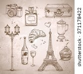 elements of paris with eiffel... | Shutterstock . vector #371178422