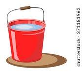 Red Bucket Of Water. Vector...