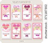 vector set of heart cards.   Shutterstock .eps vector #371187302