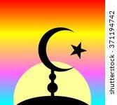 symbol of islam on sunset... | Shutterstock .eps vector #371194742