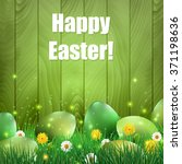 green easter eggs with a green... | Shutterstock .eps vector #371198636