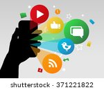 hand holding a smart phone with ...   Shutterstock .eps vector #371221822