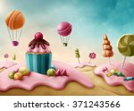 fantasy candyland with cupcake... | Shutterstock . vector #371243566