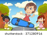 children playing at the street... | Shutterstock . vector #371280916