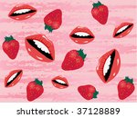 vector pattern with lips and... | Shutterstock .eps vector #37128889