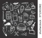 set of food and drink doodle on ... | Shutterstock .eps vector #371301082