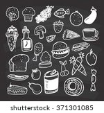 set of food and drink doodle on ... | Shutterstock .eps vector #371301085