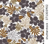 hibiscus flower pattern | Shutterstock .eps vector #371303902