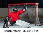 young goalkeeper catching a... | Shutterstock . vector #371310445