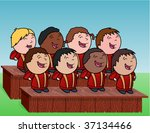 outdoor kid's choir   vector... | Shutterstock .eps vector #37134466