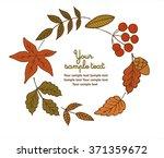 autumnal round frame. wreath of ... | Shutterstock .eps vector #371359672