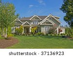 lovely house with lush green... | Shutterstock . vector #37136923