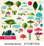 vector set of forest plants and ... | Shutterstock .eps vector #371387296