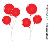Bunch Of Red Balloons  Vector...