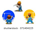 cheerful smiling builder ... | Shutterstock .eps vector #371404225