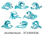 decorative blue sea waves and... | Shutterstock .eps vector #371404336