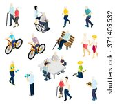 pensioners life isometric set... | Shutterstock .eps vector #371409532