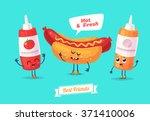 healthy breakfast. funny...   Shutterstock .eps vector #371410006