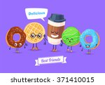 healthy breakfast. funny... | Shutterstock .eps vector #371410015