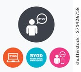 byod icons. human with notebook ... | Shutterstock .eps vector #371426758