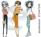 set with fashion girls | Shutterstock .eps vector #371447245
