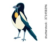 magpie with medal   Shutterstock .eps vector #371458396
