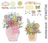 mason jars with flowers bouquet ... | Shutterstock .eps vector #371463766