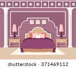 bedroom in flat style in purple ... | Shutterstock .eps vector #371469112