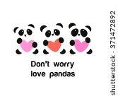 pandas with heart   the idea... | Shutterstock .eps vector #371472892