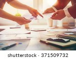 working day in office. two... | Shutterstock . vector #371509732
