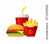 lunch with hamburger  french... | Shutterstock .eps vector #371552902