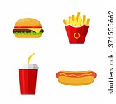 icons set lunch with hamburger  ... | Shutterstock .eps vector #371555662