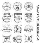 set of wooden casks with... | Shutterstock .eps vector #371569492