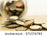 Blur Stack Of Coins Background...