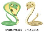 Two Snakes: Cobra and Pit Viper. Cartoon and vector reptiles