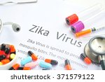 word ''zika virus''written on a ... | Shutterstock . vector #371579122