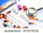 word ''zika virus''written on a ... | Shutterstock . vector #371579152