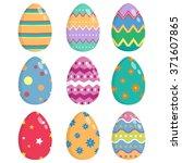 set of colorful easter eggs...   Shutterstock .eps vector #371607865