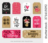 valentines day gift tags and... | Shutterstock .eps vector #371615092