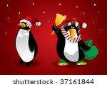christmas penguin | Shutterstock .eps vector #37161844