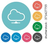 flat cloud network icon set on...